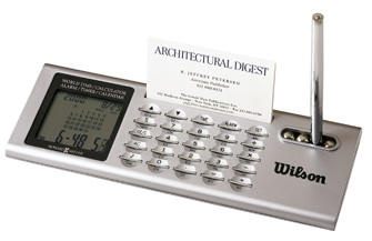Desk Calculator & World Time Clock with Pen and Business Holder