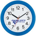 "Wall Clock 10"" Translucent Frame in Blue Black or Red"