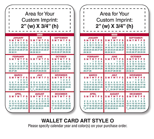 Wallet cards laminated for 2104 calendar template